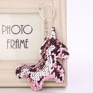 Accessories - NEW Rose Gold Sequin Unicorn Keychain Bag Charm